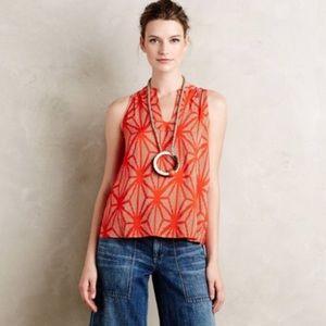 Maeve Enna Orange Geometric Swing Tank Blouse Top